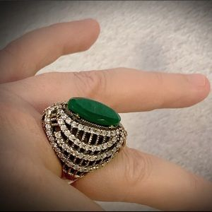 EMERALD RING SIZE 9 Solid 925 Sterling Silver/Gold